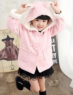 Girl's Fashion Simplicity Cotton Blend Tailored Collar Woolen Winter Overcoat