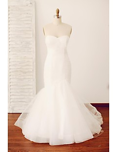 Trumpet / Mermaid Wedding Dress Sweep / Brush Train Sweetheart Tulle with Button / Criss-Cross