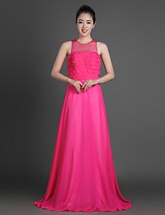 Formal Evening Dress Sheath / Column Jewel Floor-length Chiffon with Tiers
