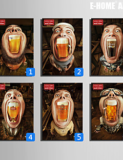E-HOME® Stretched Canvas Art Beer In The Mouth Decoration Painting  One Pcs