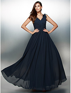 TS Couture Formal Evening Dress - Open Back A-line V-neck Floor-length Chiffon with Flower(s)