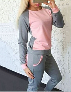 Women's Patchwork Blue / Pink Hoodies , Casual / Cute Round Neck Long Sleeve