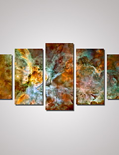 Manzara Soyut Manzara Haritalar Geleneksel,Beş Panelli Yatay Boyama Duvar Dekor For Ev dekorasyonu
