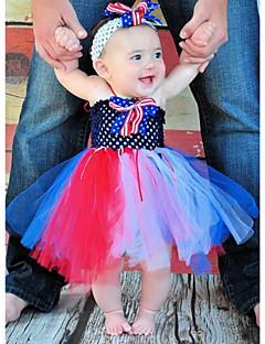 2pcs Dress+Handwear A-line Knee-length Flower Girl Dress - Tulle / Polyester Sleeveless
