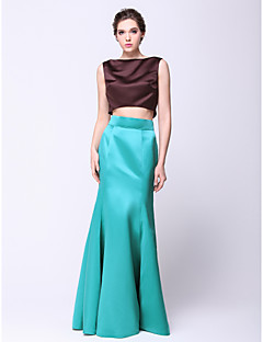 Formal Evening Dress - Multi-color Trumpet/Mermaid Bateau Floor-length Satin