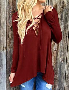 여성의 포켓 후디 긴 소매 티셔츠 폴리에스테르