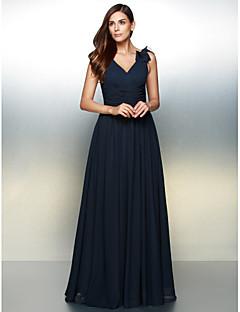 A-라인 V-넥 바닥 길이 쉬폰 포멀 이브닝 드레스 와 플라워 으로 TS Couture®