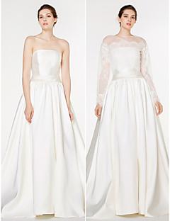 A-line Wedding Dress-Ivory Sweep/Brush Train Strapless Lace / Satin