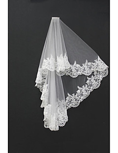 Wedding Veil Two-tier Blusher Veils / Shoulder Veils / Fingertip Veils Lace Applique Edge Tulle White / Ivory