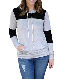 Women's Color Block Multi-color Hoodies , Casual / Day Hooded Long Sleeve