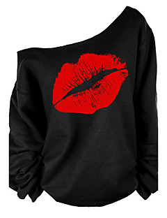 Women's Going out Sexy / Street chic T-shirt,Print One Shoulder Long Sleeve Red / White Cotton Medium