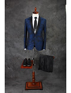 Suits Tailored Fit Notch Single Breasted One-button Cotton Blend Patterns 2 Pieces Royal Blue Straight Flapped Double (Two) Double (Two)