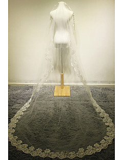 Wedding Veil One-tier Cathedral Veils Lace Applique Edge Champagne