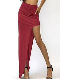 Sexig / Bodycon Asymmetrisk Kjolar Kvinnors Microelastisk Polyester