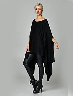 Damen Kleid - Übergrößen Übergröße / Leger Solide Asymmetrisch Baumwoll-Mischung Rundhalsausschnitt