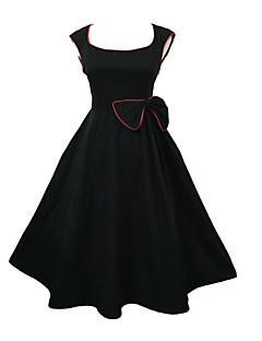 Damen Kleid - Übergrößen Retro / Party Solide Knielang Baumwolle / Elasthan U-Ausschnitt