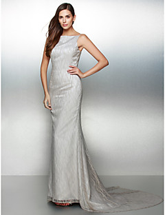 Formal Evening Dress - Silver Trumpet/Mermaid Bateau Court Train Lace