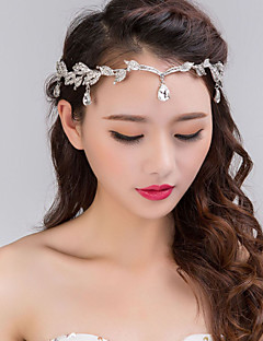 Bride's Golden Leaves Rhinestone Forehead Wedding Headbands 1 Pieces