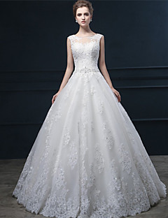 Ball Gown Wedding Dress - Ivory Sweep/Brush Train Jewel Lace / Tulle