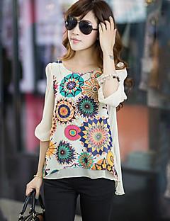 1/2 ærmelængde U-hals Medium Kvinders Blå / Beige Trykt mønster Sommer Simpel Casual/hverdag Bluse,Polyester