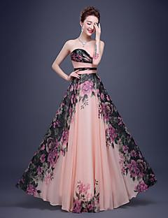 Cocktail Party / Formeller Abend / Unternehmensgruppe / Familientreffen / Black Tie Gala Kleid - Perlen Pink Chiffon - A-Linie - bodenlang