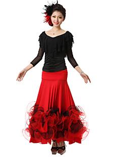 Női-Modern tánc-Felszerelések(Fekete Piros Királykék,Krepp Selyem,Redőzött)