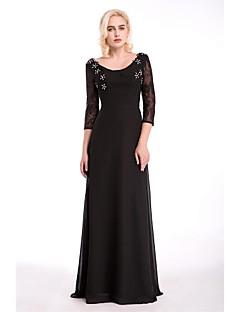 저녁 정장파티 드레스 - 블랙 시스/칼럼 바닥 길이 스쿱 쉬폰