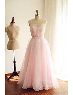 Formal Evening Dress A-line Scoop Floor-length Organza with Beading / Sash / Ribbon