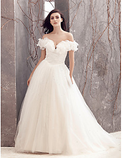 Lanting A-line Wedding Dress - Ivory Sweep/Brush Train Off-the-shoulder Tulle