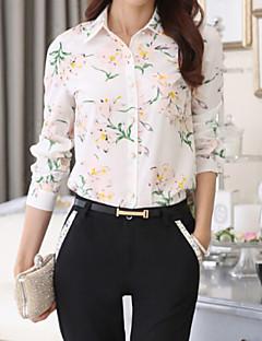 Vrouwen Herfst Overhemd Print / Kleurenblok Overhemdkraag Lange mouw Wit / Zwart Polyester Medium