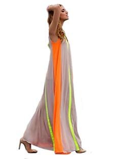Mulheres Vestido Evasê / Swing Férias Color Block Maxi Decote Redondo Acrílico / Poliéster / Chifon / Misto de Algodão