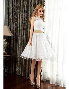 Cocktail Party Dress - White A-line Jewel Knee-length Lace