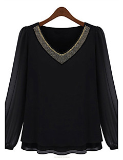 Summer Plus Sizes Women's Slim Was Thin Fashion Beading V Neck Long Sleeve  Chiffon Shirt Blouse