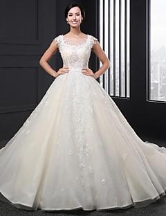 A-line Wedding Dress - Ivory Chapel Train Scoop Lace