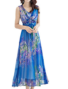 Women's Party/Cocktail Sexy Plus Size Dress,Floral V Neck Midi Sleeveless Blue Polyester Summer