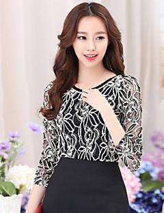 Vrouwen Eenvoudig Lente T-shirt,Casual/Dagelijks Bloemen Ronde hals Lange mouw Wit / Zwart Katoen / Polyester Dun