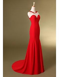 Serata formale Vestito A sirena Con decorazione gioiello Strascico a terra Chiffon conCon applique / Fiocco (fiocchi) / Dettagli con