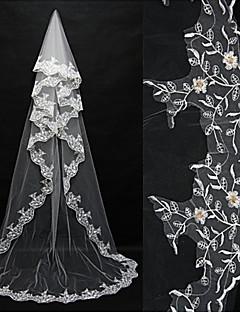 한층 - 레이스처리된 가장자리 - 엔젤컷/워터팔 - 블러셔 베일 / 채플 베일 / 성당 베일 ( 화이트 / 아이보리 , 새해장식 )