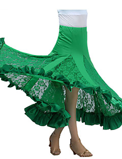 Ballroom Dance Tutus & Skirts Women's Performance Milk Fiber Draped 1 Piece Black / Fuchsia / Green / Red Modern Dance Skirt