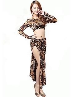 Dança do Ventre Roupa Mulheres Actuação Náilon Chinês Leopardo 2 Peças Blusa Saia