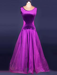 Ballroom Dance Dresses Women's Performance Velvet Draped 1 Piece Black / Purple / Red Modern Dance Dress
