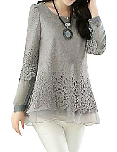 Women's Lace Patchwork Black/Beige/Gray Blouse,Casual Round Neck Long Sleeve Hollow Out