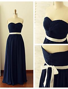 Floor-length Chiffon Bridesmaid Dress - Dark Navy A-line Sweetheart