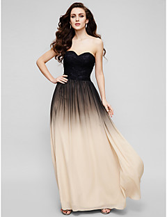 Formal Evening Dress - Multi-color A-line Sweetheart Floor-length Chiffon / Lace