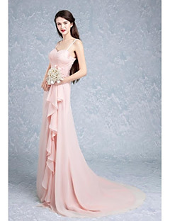 Sweep / Brush Train Chiffon Bridesmaid Dress A-line Spaghetti Straps with Flower(s)
