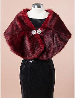 Wedding  Wraps Fur Wraps Shawls Sleeveless Faux Fur Burgundy Wedding Party/Evening Rhinestone Clasp