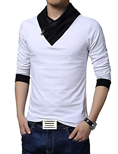 Men's Fashion Personality Irregular Collar Slim Fit Long-Sleeve T-Shirt