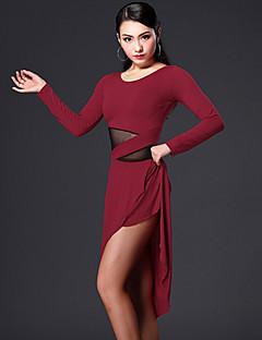 Dança Latina Vestidos Mulheres Actuação Elastano Poliéster Pano 2 Peças Vestidos Shorts M:88-107  L:89-108  XL:90-109   XXL:91-110
