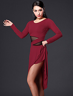Latin Dance Dresses Women's Performance Spandex Polyester Draped 2 Pieces Dress Shorts M:88-107  L:89-108  XL:90-109   XXL:91-110