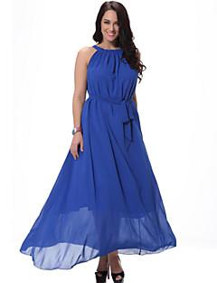 SWEET CURVE Women's Beach Plus Size Dress,Solid Strap Midi Sleeveless Blue / White / Black / Orange Spandex Summer